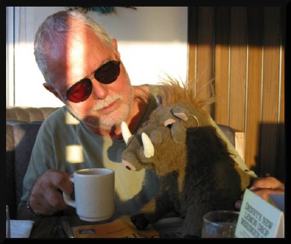 The other guy sharing his beverage with me, Warty Lahoof, The Great One! (c) 2004 David Coyote