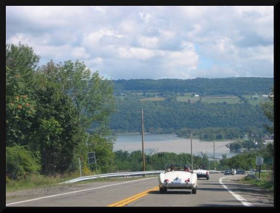 Driving down the hill to Seneca Lake (c) 2004 David Coyote